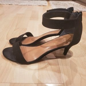Style & Co. Black Suede Ankle Strap Heels
